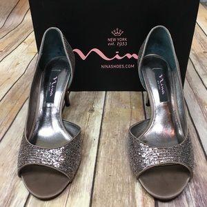 Nina Fern Bronze Glitter  Peep Toed Heels, Sz 8.5